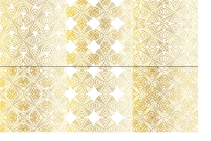 motivi geometrici di cerchi metallici concentrici in oro e bianco