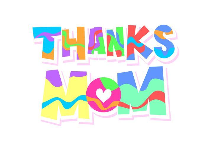 Obrigado mamãe tipografia vetor