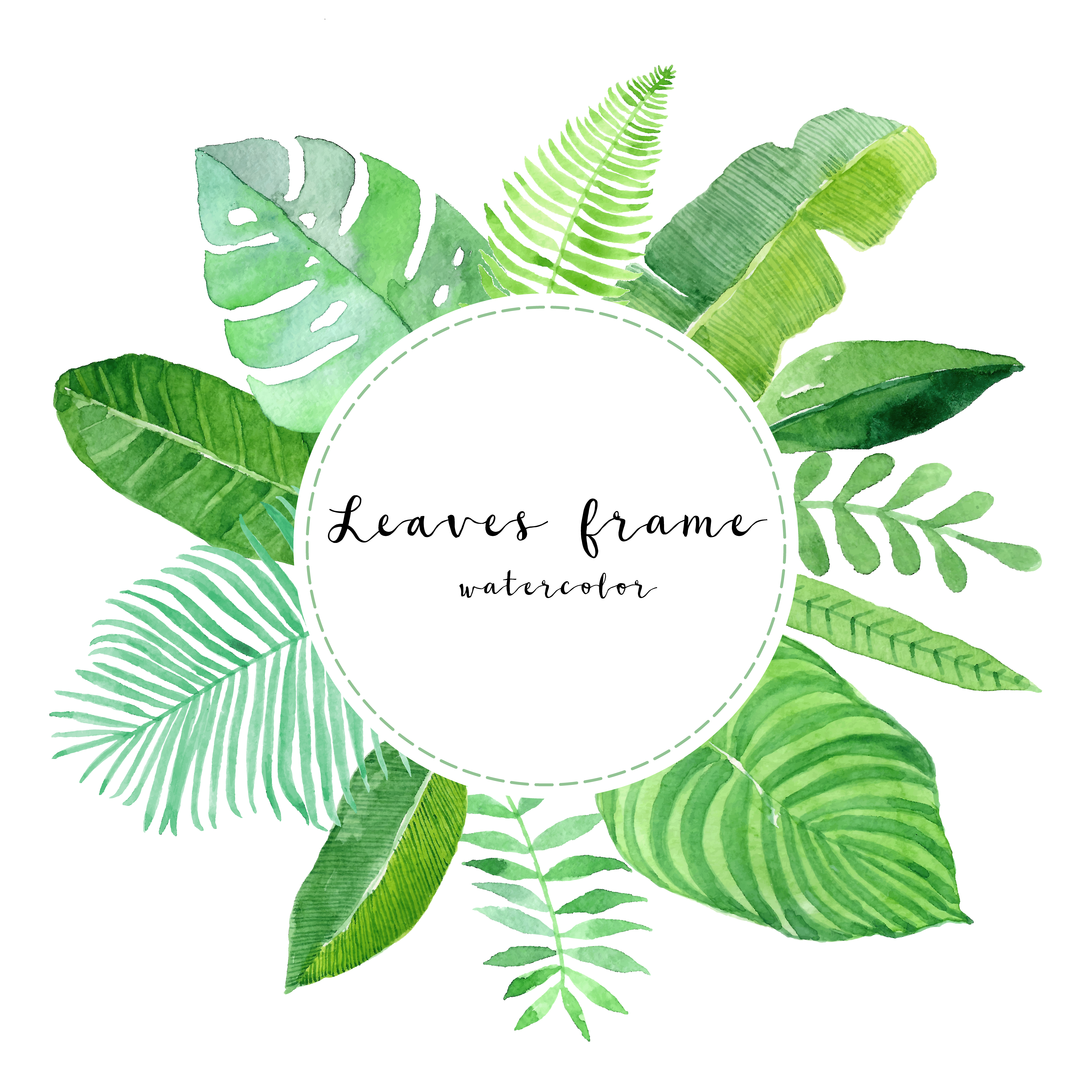 5f94821167bd Watercolor tropical green leaves frame download free vector art stock  graphics images jpg 5000x5000 Clipart tropical