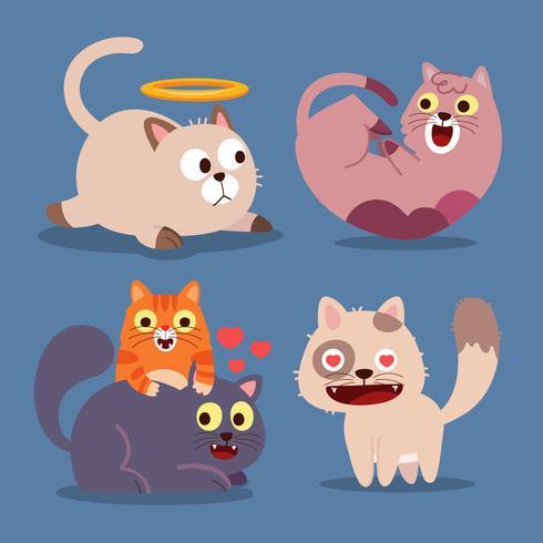 Süße katzen. Glückliche Tiere, lächelnde Mundkatze des lustigen Kätzchens. Tiercharakter-Karikaturvektor-Illustrationssatz