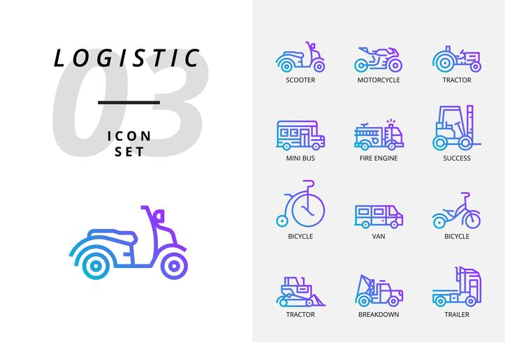 Icon pack for logistics , fast truck, purchase, delivery time, forklift, container, packing, container, ship, postman, airfreight, bike messenger, tracking. vector