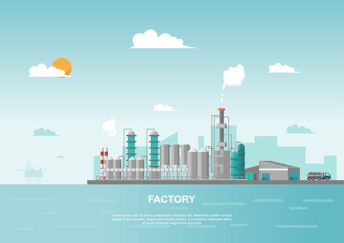Fabbrica industriale in mare in stile piatto. Vettore e illustrazione della costruzione di produzione.