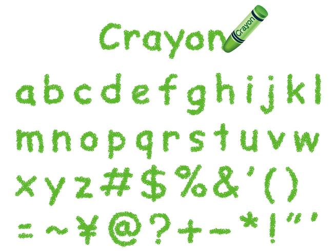 Vector crayon font. Lower-case and signs in green.