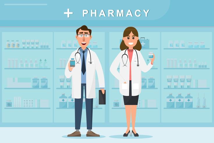 Farmacia con médico y enfermera en mostrador. vector