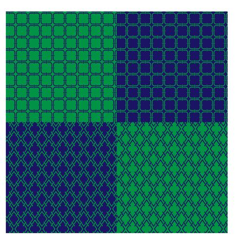 blue and green geometric patterns vector