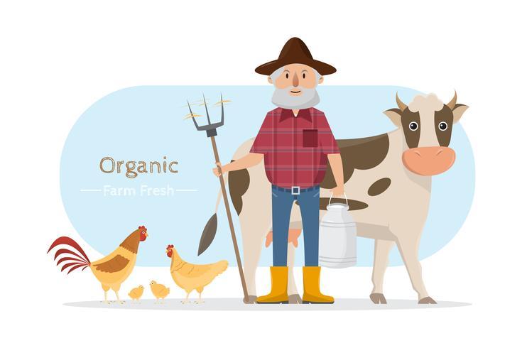 feliz granjero familia personaje de dibujos animados en granja rural orgánica