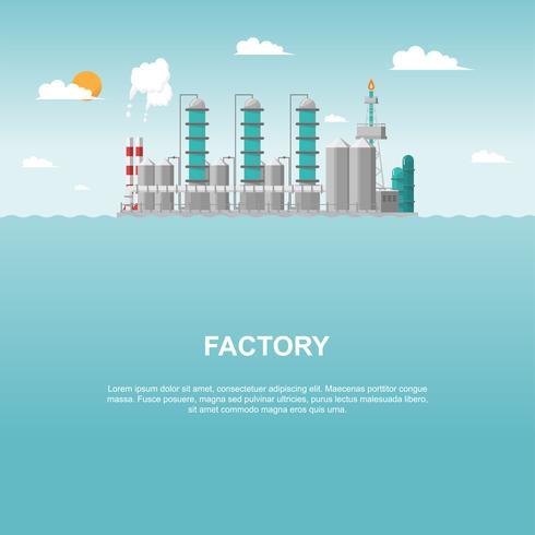 Fabbrica industriale in mare in stile piatto. Vettore e illustrazione della costruzione di produzione