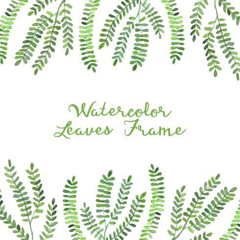 marco de hojas de acuarela verde