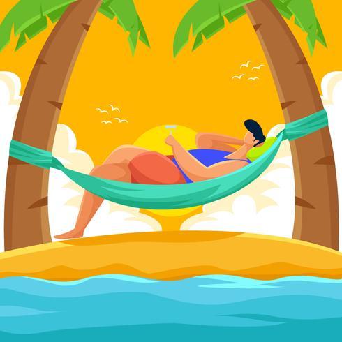 Persoon die van de zomer geniet