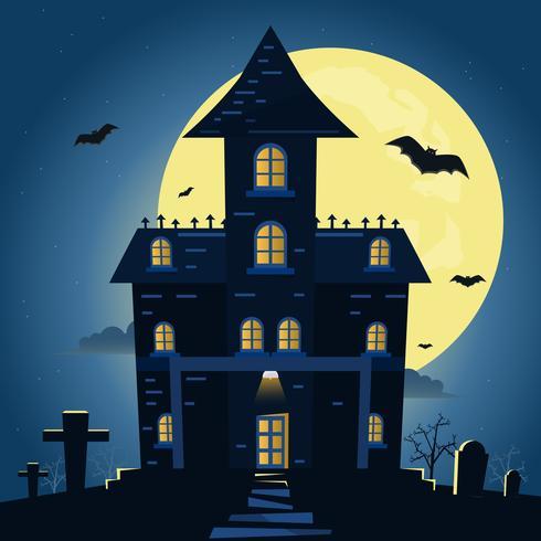 Halloween night background with pumpkin and dark castle under the moonlight. vector
