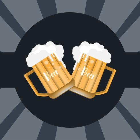 glas bier en mok op donkere achtergrond