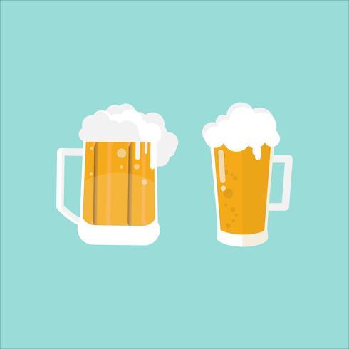 verre de bière et chope sur fond