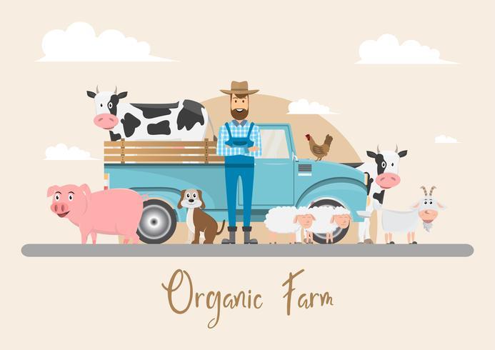 bonde tecknade karaktär med mjölkko i ekologisk lantgård