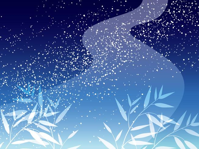 Milky Way and bamboo leave background for the Japanese Star Festival.