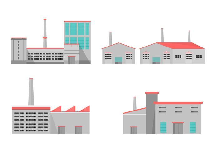 Industriële fabriek in een vlakke stijl. Vector en illustratie van de productiebouw