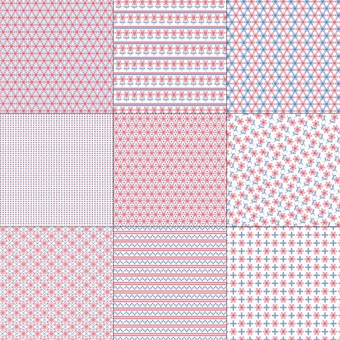 Red White and Blue Cross Stitch Patterns vector