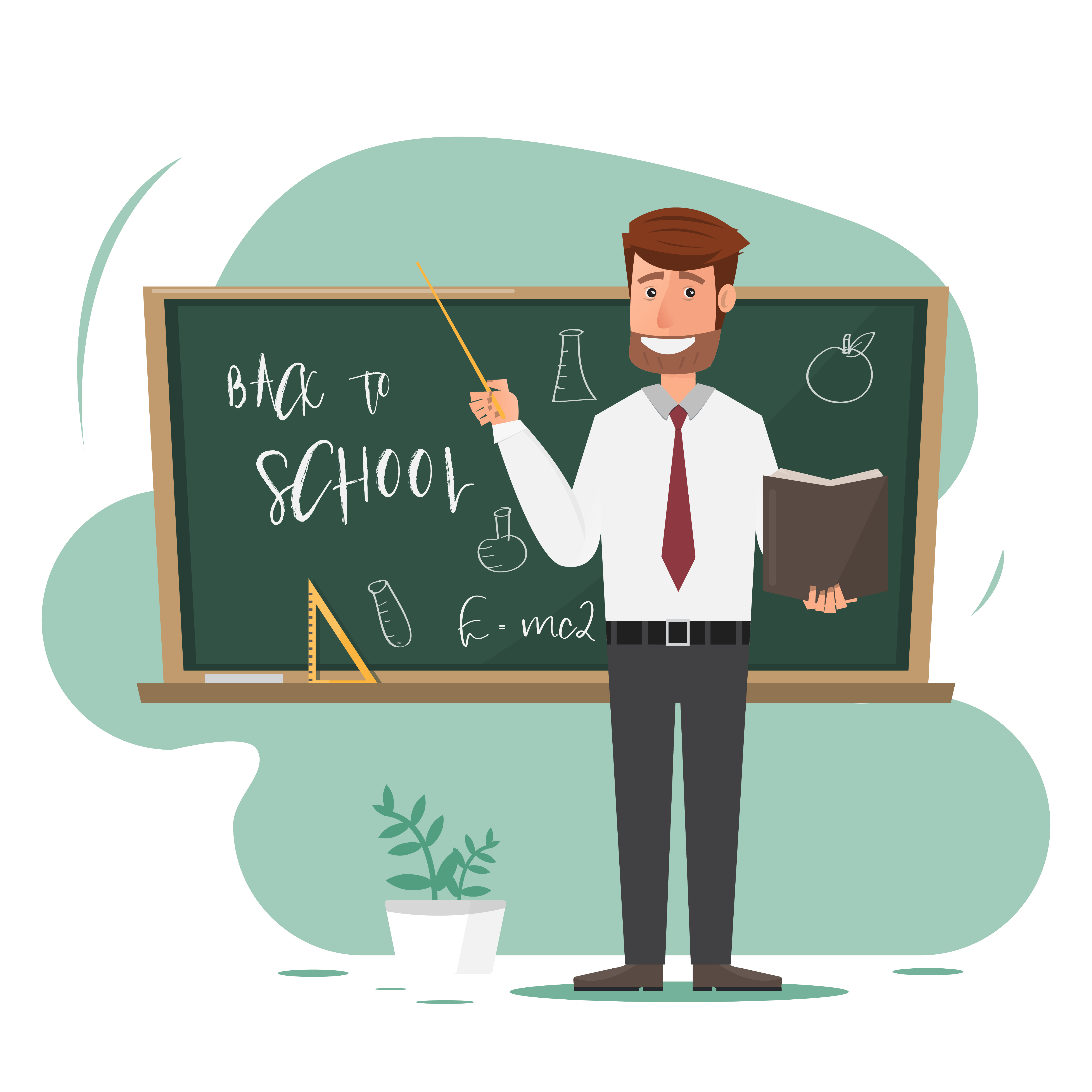 male teacher with pointer on lesson at blackboard in ...