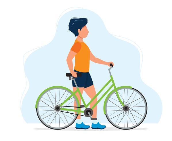 Uomo con una bicicletta, illustrazione di concetto per uno stile di vita sano, sport, ciclismo, attività all'aria aperta. Illustrazione vettoriale in stile piatto