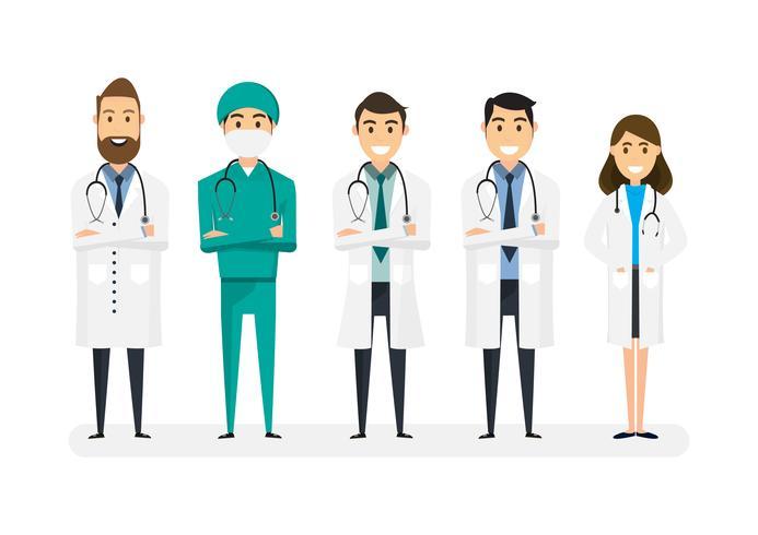 Satz Doktorcharaktere lokalisiert auf weißem Hintergrund