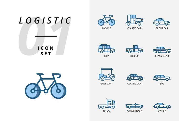 Icon pack for logistics , flatbed truck, search product, delivery find, airplane, weight, scooter, location, protected, delivery, train, ship, globe location. vector