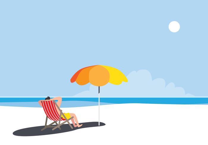 Persoon zittend op het strand
