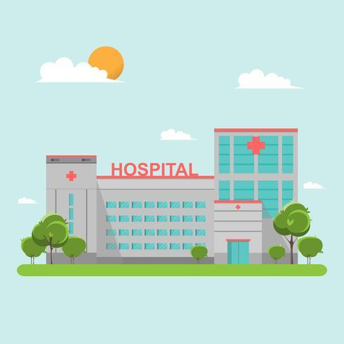 Ziekenhuis vlakke stijl op blauwe hemel