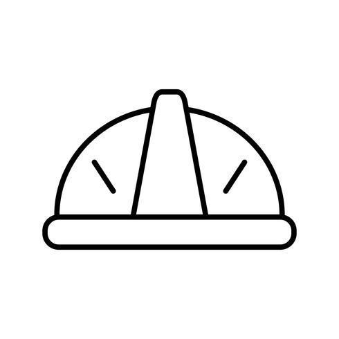 Icono de línea de casco negro