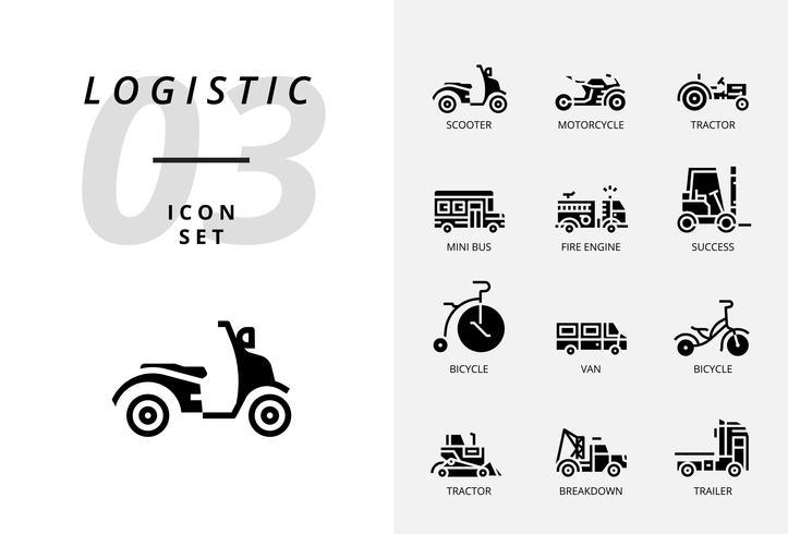 Pack d'icônes pour la logistique, camion rapide, achat, délai de livraison, chariot élévateur, conteneur, emballage, conteneur, bateau, facteur, fret aérien, messager à vélo, suivi.