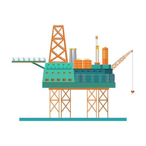 Booreiland in de zee. Olieplatform, gasbrandstof, de industrie voor de kust, boortechnologie op witte achtergrond wordt geïsoleerd die