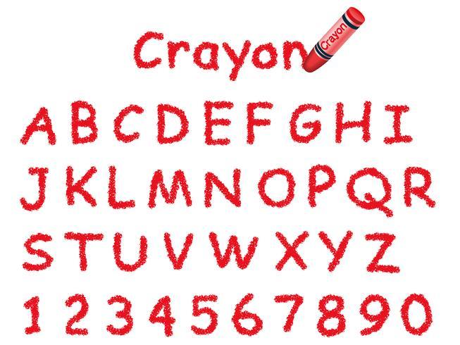 Fuente de crayón vector. Gorras y números en rojo.