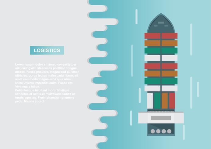 Logística de transporte marítimo. El transporte marítimo. Buque de carga, transporte de contenedores en estilo plano