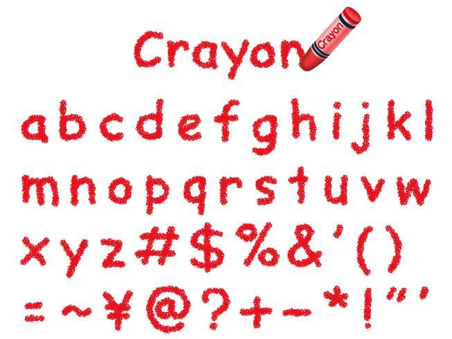 Fonte de lápis de cor do vetor. Letras minúsculas e sinais em vermelho.