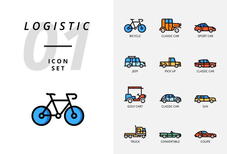 Icon pack per logistica, camion con pianale, prodotto di ricerca, consegna, aeroplano, peso, scooter, posizione, protetto, consegna, treno, nave, posizione del globo.