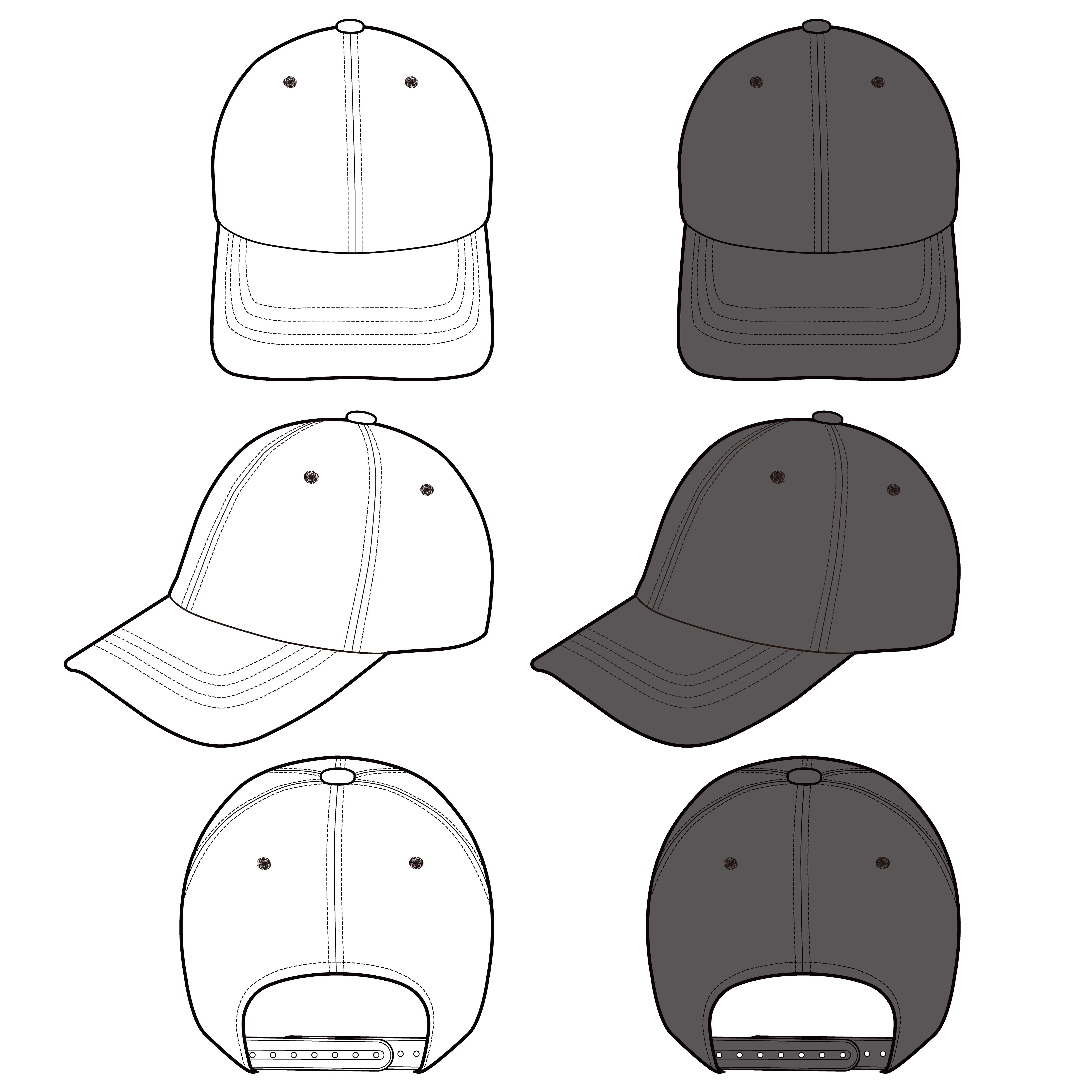 Baseball Cap fashion flat sketch template - Download Free ...