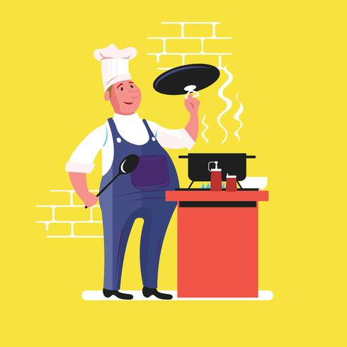 Chef cuisinant avec pan vecteur