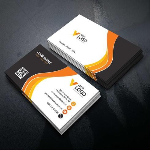 Orange and black corporate card  vector