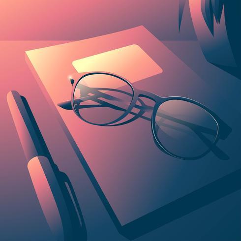 Óculos no livro