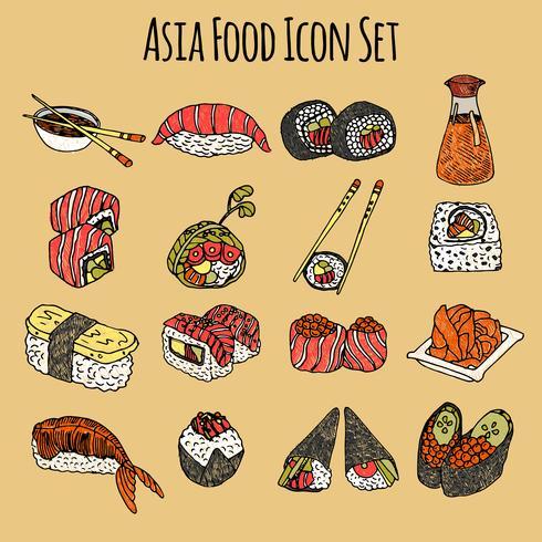 Conjunto de ícones de comida de Ásia colorido