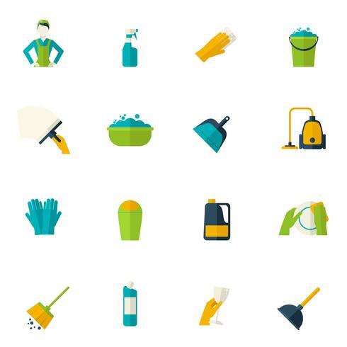 Icono de limpieza plana