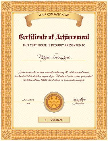 Vertical do modelo de certificado