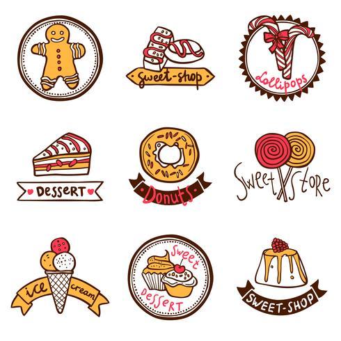 Conjunto de etiquetas de emblemas tienda de dulces vector