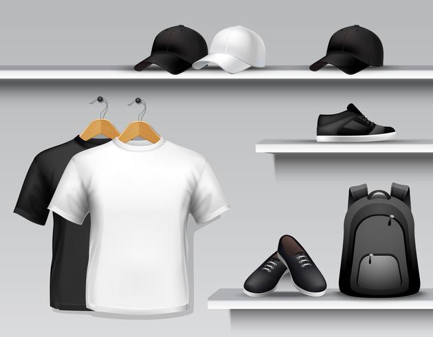 Etagère de magasin de vêtements de sport vecteur