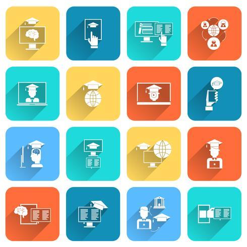 Iconos de educación en línea plana