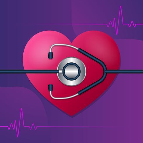 Stetoskop och hjärtslag