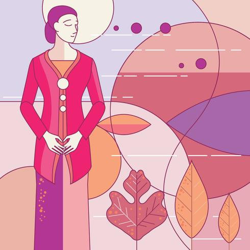 Indonesian Traditional Kebaya Kartini with Art Deco Style vector