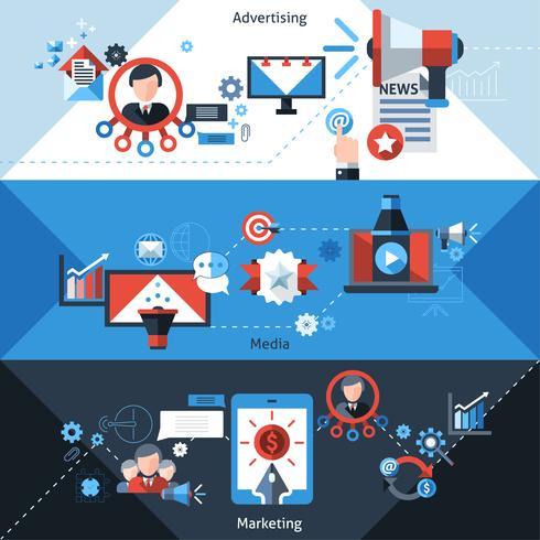Banners publicitarios de marketing vector