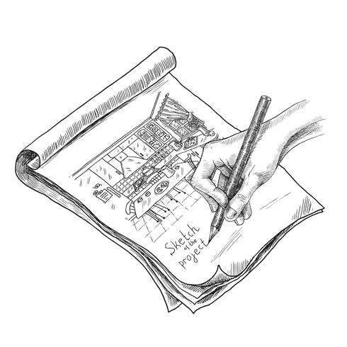 Kitchen Sketch Illustration vector