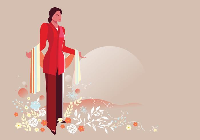 Indonesiska kvinnor som bär Kartini's Kebaya