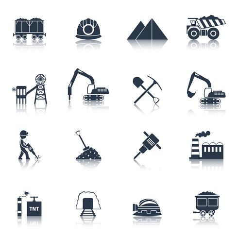 Coal Industry Icons Black vector