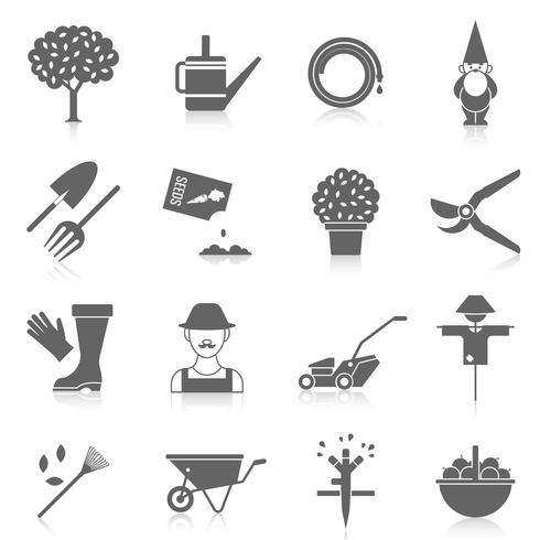 Vegetable garden icons set vector